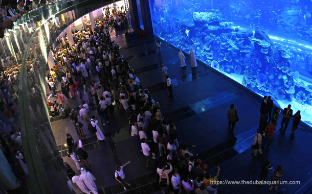 Dubai aquarium & Underwater zoo - Viewers watching from outside